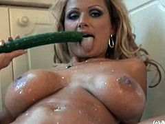 My Boobs brings you a hell of a free porn video where you can see how the beautiful blonde milf Sharon Pink dildos her tight pink cunt in the kitchen while assuming sexy poses.