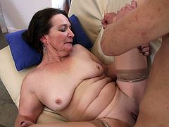 The horny mature lady Anna H enjoys sucking a big hard cock and shows this incredibly lucky guy what a good mature ass feels like.