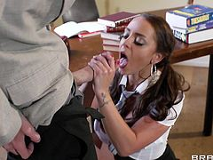 Have a look at this hardcore scene where the beautiful Liza Del Sierra is fucked silly by her professor in class after taking off her school uniform.