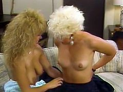 Ultra hot blonde feels up her girlfriend;s tits and sucks her nipples. Then her playful tongue runs down her slender body and dives in soaking pussy.