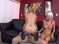 Charming blondes Holly Wellin and Haley Cummings are trying their best to satisfy a man. They suck his wang devoteldy, then jump on it by turns and moan loudly with pleasure.