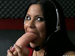 Stunning brunette porn actress demonstrates deepthroat talent. She is greedy for cum dessert and she gives deepthroat blowjob. Don't skip top rated blowjob sex video from Brazzers.