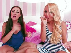 Bro, here are Aaliyah Love, Lola Foxx and Taylor Vixen who can easily blow mind of each real man. Two girls chat with each other and drink water while their female friends sleeps in the bed.