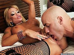 Oriental with gigantic tits and hairless cunt and hard dicked dude Derrick Pierce do wild things