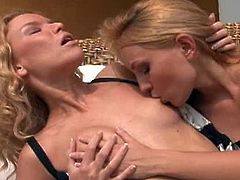 Nataly Von and Summer Breeze are two horny lesbo blondies and they are ready for some amazing action. Watch as they finger their tight pussies and lick them nice.