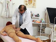 Mature lady is in great need to have her hairy twat enlarged and well stimulated by this hot doc