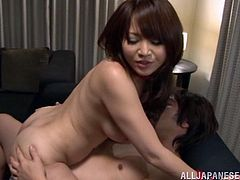 Sizzling Japanese milf Aiko Sunakawa is having fun with two dudes in an office. She gives blowjobs to the men and gets her pussy fingered and fucked like never before.