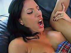 Lezley Zen plays with her pussy in a bathroom. Then this busty girl takes off clothes and gives a passionate blowjob in a living room. Then Lezley gets banged in acrobatic positions.