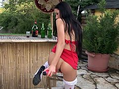 Slim brunette cutie Sasha Rose, wearing stockings, is having some nice time outdoors. She smashes her coochie with a dildo, then masturbates her asshole and moans sweetly.
