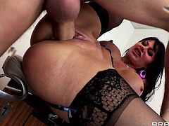 Horny cougar Eva Karera wears her sexy black stockings and takes her doctor's big hard cock up her pussy in a very special exam.
