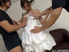 A pretty Japanese bride has fun before the wedding ceremony. It is her last chance to have wild threesome sex. She sucks a dick and gets fucked from behind at the same time. Definitely the best sex in her entire life.