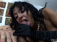 This scorching brunette with big boobs is an anal freak. While one dude bangs her from behind curvaceous sexpot starts sucking the other guy's dick.