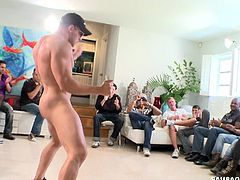 Prepare your cock for this brunette boy, with a nice ass and a big cock, while he gets fucked by a bunch of horny fellows in a great orgy.
