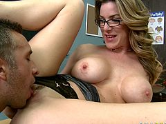 Sex appeal busty chick rubs her clit while hot tempered stud drills her throat. He pokes her hard right on the teachers table. Enjoy watching Brazzers sex tube video.
