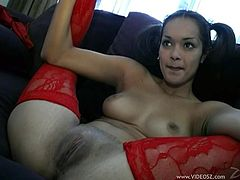 Take a look at this hardcore scene where the slutty pigtailed Latina Daisy Marie is fucked silly by a large cock until she's covered by semen.