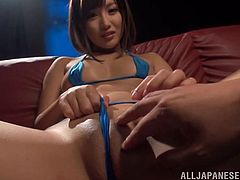 Salacious Japanese girl Miku Sunohara, wearing a bikini, is having fun with a man in the club. She plays with her smooth pussy, then takes the guy's wang in her mouth and sucks it devotedly.