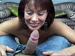 Old fuck starving MILF Vanessa Videl is gonna blow big cock of her BF
