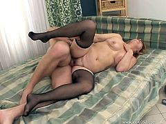 Nasty light-haired harlot sucks cock before getting her pussy fucked doggystyle and in a sideways pose. Then she rides dick on top and gets nailed mish until buddy cums.