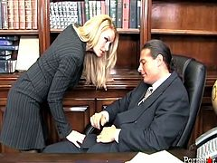 Juicy blonde secretary in sexy business suit walks into her boss's office and gets on her knees. Beauty sucks his big hard dick and gets her meaty cunt licked.