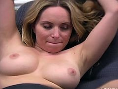 This bodacious blonde with big boobs always gets what she wants. Today she makes her kinky co-worker lick her sweaty armpits.