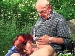 Horny redhead grandma comes out of a hospital with her sick man. She gets nasty and gives hot blowjob to her man in public. Her experienced mouth knows how to blow!
