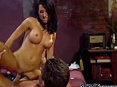 Take a look at this amazing hardcore scene where the slutty brunette Lezley Zen ends up with a messy facial after being fucked by a big cock.