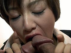 Slim Asian girl Akina gets her bushy pussy finger fucked by two randy guys. She is eager for cum dessert and kneels down to get a portion of slime juice.