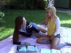 Horny students Aaliyah Love and Dani Daniels taking a break from studies. Coming from stress and pressure, they did kiss each other passionately and suck each other's perky breasts outdoors.