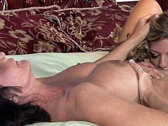 Astounding milf with superb tits is in for a treat along younger chick needy for a harsh pussy stimulation show
