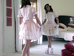 Check this brunette teen, with a hot ass wearing a cute dress and socks, while she gets nailed hard by a crazy guy in a reality video.