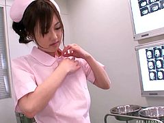 Busty Japanese nurse Rina Rukawa sucks and titfucks a dude's schlong in a hospital ward. Then they fuck doggy style and in the cowgirl position and Rina's big natural boobs bounce so nicely.