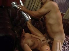 Watch Jewel De Nyle end up with her tits covered by warm semen after being fucked by this guy in this amazing hardcore scene.