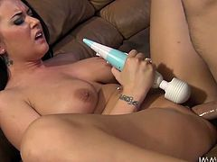 Lusty raven haired hottie with gorgeous body shapes lies on sofa with legs spread and rubs her clit with dildo. Meanwhile horny guy fucks her sweet pussy in missionary pose.Take a look at that bonny whore in My XXX Pass porn clip!