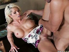Brooke Haven with giant breasts takes Johnny Sinss throbbing pole so fucking deep after warm-up