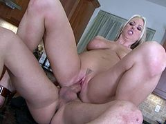 This hypnotically beautiful blonde with big boobs is a dominant bitch who likes to be on top. Insatiable hottie rides her hubby's dick in reverse cowgirl position. Then she makes him eat her delicious pussy. When she gets what she wants. horny dude pounds her tight twat in missionary position.