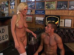 This sex-starved blonde just loves to fuck! Horny dude bangs her pretty pink pussy in missionary position. Then she fucks him on top. Damn, this lovely cowgirl is unstoppable!