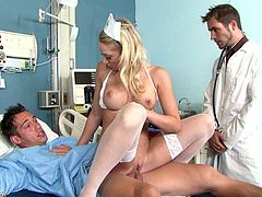 Shawna Lenee is one sexy nurse who knows how to cure her patients. She gets her pretty pink pussy filled with hard cock but she has one more dick to handle.