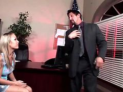 Make sure you see this! A blonde cougar, with natural gazongas and a shaved twat, while she has anal sex with a lusty fellow in an office.