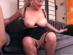 This boobalicious woman knows just how good her lover's dick tastes. She sucks his meat stick passionately. Then she gets into sideways position to let her lover fuck her tight pussy hard.