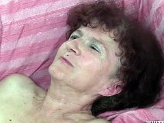 Titless and dumpy Russian granny got fucked in sideways pose by black guy