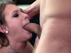 If someone knows how to give her man an oral pleasure it is Callie Calypso. This naughty chick knows a lot about oral sex and she is here to prove it. When she notices the big bulge in her lover's pants it turns her on to give him a blowjob right away. Damn, her cock sucking skills are above all praise!