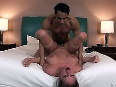 Zoe Holiday gets her mouth attacked by dudes beefy throbbing love wand