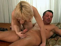 Old light haired dumpy bitch with pierced nipples presented solid deep throat to her young kinky dude. Then she enjoyed getting her pinkish cunt attacked in sideways pose hard.Watch that hot fuck in Fame Digital porn video!