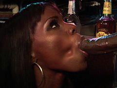 Slutty ebony Ana Foxxx gets a little drunk in the bar and orders one last shot of hot cum from the bartender's big hard cock.