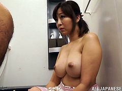 A sizzling Asian girl with big tits and a great body enjoys licking and sucking a stranger's big cock. Hear her moan with pleasure now!
