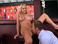 Black Rose is damn proud of her huge tits. She seduces horny bartender with her boobs and makes him eat her pretty pink pussy. Horny dude licks her twat greedily like a true pussy eater. Then she fucks him on top.