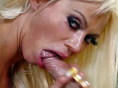 Jaw dropping blonde pornstar Nikita Von James will drive you crazy with her massive impressive boobs. She gives beat ever titjob and sucks cock like greedy for cum.