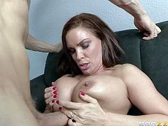 Diamond Foxxx is a good looking milf with perfect huge fake tits and completely shaved pussy. She gets her fuck hole banged by her hard dicked boss. Her loves Diamond Foxxxs tatas and her wet love hole.