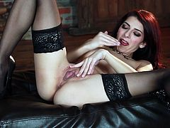 Go crazy as you watch this brunette chick, with natural tits wearing nylon stockings, while she touches herself fervently. She's a naughty doll!