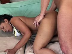 Big-assed ebony hussy Donna Red takes her panties off and demonstrates her well-rounded ass to the dude. Then she sits down on his weiner and they fuck in the reverse cowgirl and many other positions.